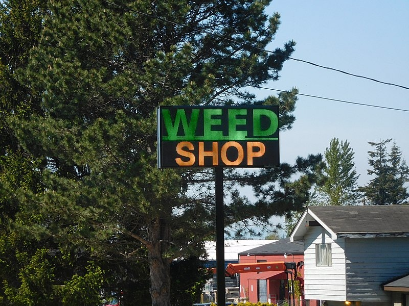 A sign for a marijuana dispensary in Washington state.