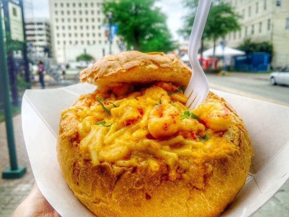 Crawfish Mimi's Mac and Cheese Bread Bowl