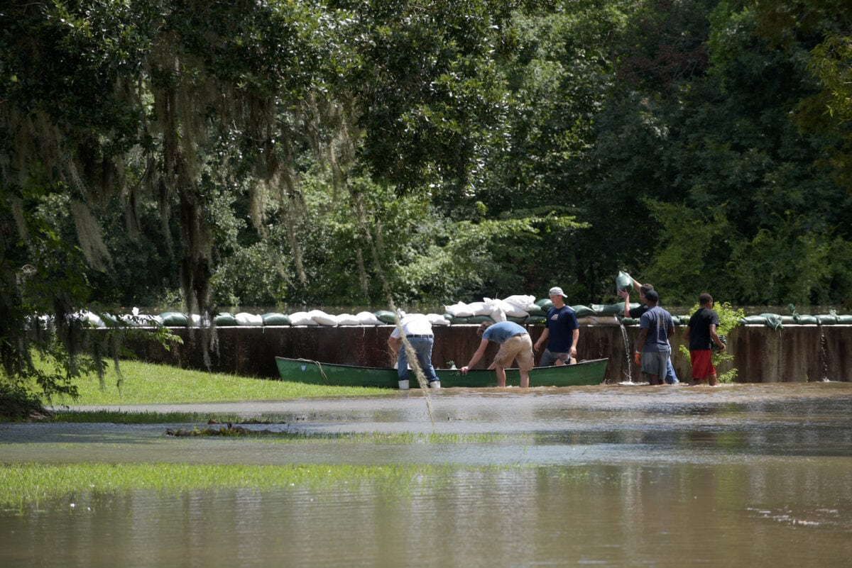 Sandbags stacked on top of a levee